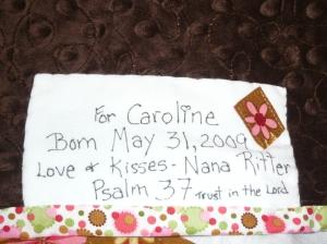 Caroline's quilt label